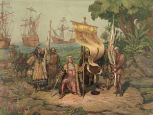 An illustration of Columbus' arrival in the Americas.